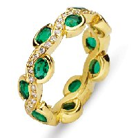 Item # 211963E - Emerald Diamond Eternity Band 18K
