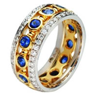 Item # 212071E - 18 Kt Two-Tone Gold Sapphire-Diamond Ring