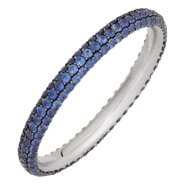 Item # 212101PP - Platinum sapphire eternity ring. The ring holds 165 sapphires in size 6.0 with sapphire total weight of approximately 1.00ct. The ring is polished. Different finishes may be selected or specified.