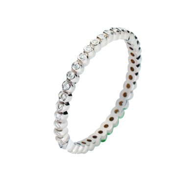 Item # 212111WE - 18Kt White gold diamond eternity ring. The ring has a total diamond weight of 0.50ct, VS1-2 in clarity and G-H in color. It is about 2.5 mm wide. The ring is polished. Different finishes may be selected or specified.