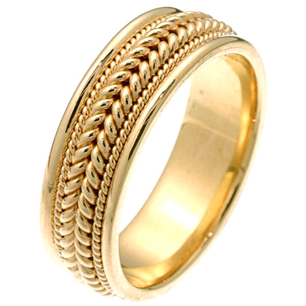 Item # 212361 - 14 kt yellow gold hand braided comfort fit 7.0 mm wide wedding band. The ring has two large ropes together in the center and one smaller rope on each side of the larger ropes. It is all polished and 7.0 mm wide. Different finishes may be selected or specified.