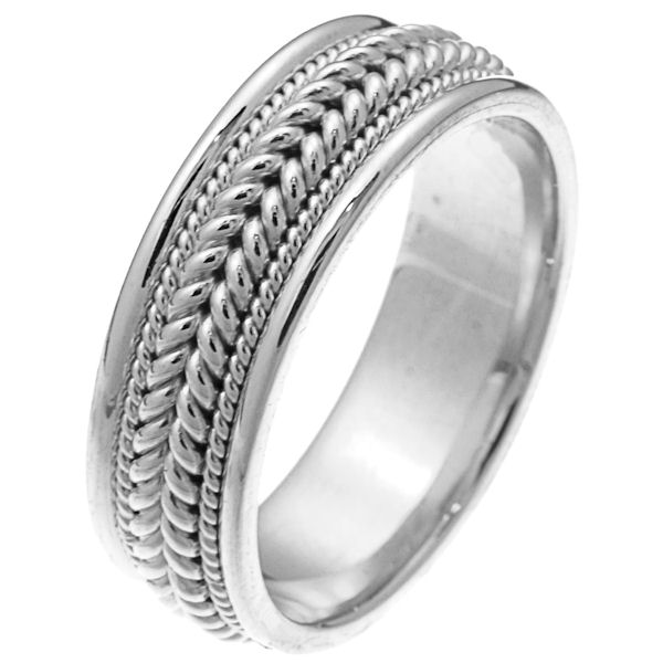 Item # 212361WE - 18 kt white gold hand braided comfort fit 7.0 mm wide wedding band. The ring has two large ropes together in the center and one smaller rope on each side of the larger ropes. It is all polished and 7.0 mm wide. Different finishes may be selected or specified.