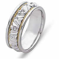 Item # 21304E - 18 Kt Two-Tone Hand Made Wedding Band