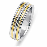 Item # 213478PE - Wedding Ring, Platinum & 18 Kt Yellow Gold