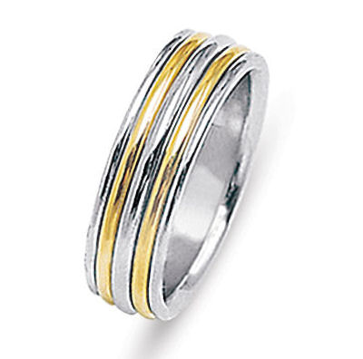 Item # 213478E - Hand crafted, 18 kt two-tone gold comfort fit band. The ring is 8.0 mm wide and polished finish. Different finishes may be selected or specified.