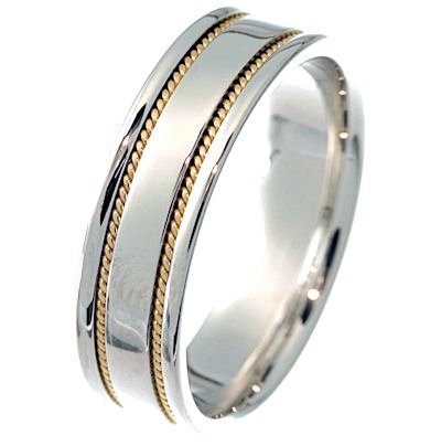 Item # 213506PE - Hand crafted, platinum and 18 kt yellow gold 6.0 mm wide, comfort fit band. Two channels of 18 kt yellow gold twisted wires completes the ring. The whole ring is polished. Different finishes may be selected or specified.