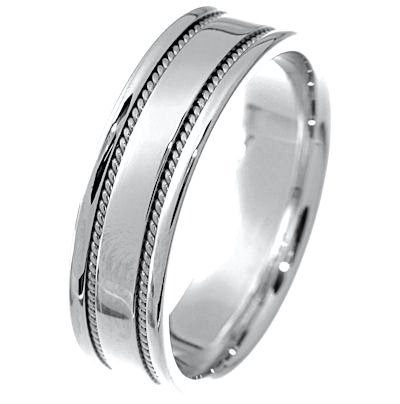 Item # 213506W - Hand crafted, 14 kt white gold 6.0 mm wide, comfort fit band. Two channels of 14 kt white gold twisted ropes completes the ring. The whole ring is polished. Different finishes may be selected or specified.
