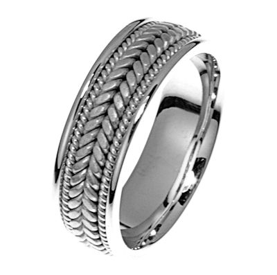 Item # 21398W - Hand crafted, 14kt white gold comfort fit band. Two channels of 14 kt white gold twisted wires completes the ring. The center of the ring is matte and the outer edges are polished. Different finishes may be selected or specified.
