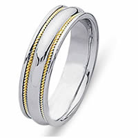 Item # 21400E - Wedding Band, 18 kt two-tone