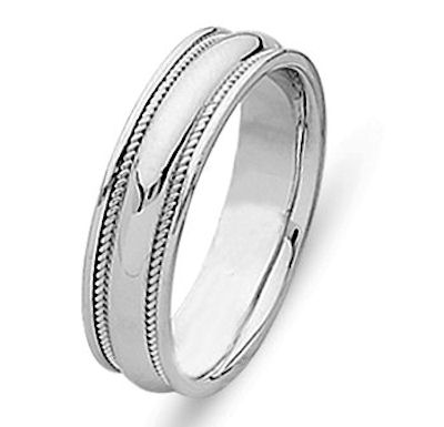 Item # 21400PP - Hand crafted, platinum comfort fit band. Two channels of platinum twisted wires completes the ring. The whole ring is polished. Different finishes may be selected or specified.