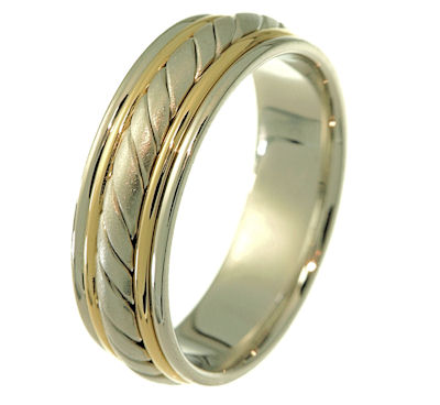 Item # 21402PE - Hand crafted, platinum and 18 kt yellow gold comfort fit band. Two channels of 18 kt yellow gold wires completes the ring. The center is a hand made rope and a matte finish. The rest of the ring is polished. Different finsihes may be selected or specified.