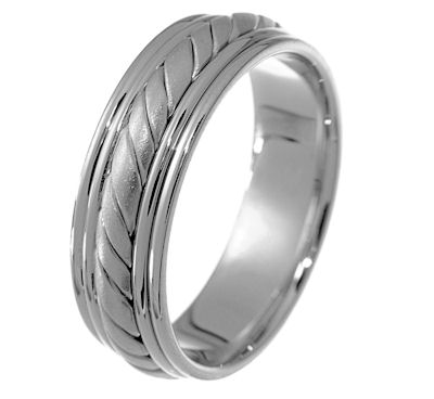 Item # 21402W - Hand crafted, 14 kt white gold band. Two channels of 14 kt white gold wires completes the ring. The center is a hand made rope and a matte finish. The rest of the ring is polished. Different finsihes may be selected or specified.