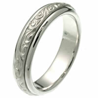Item # 214041PP - Platinum Hand Made Wedding Band