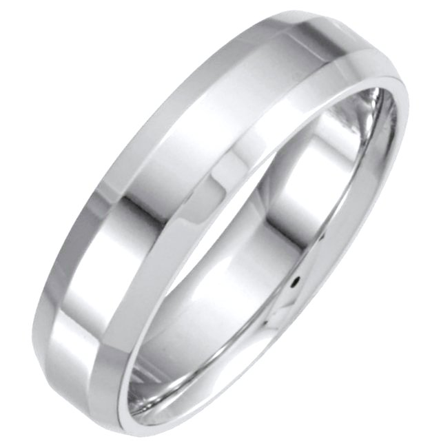 Item # 214106W - Hand crafted, 14 kt white gold, 6.0 mm wide, comfort fit band. The center portion has a matte finish and the edges are polished. Different finishes may be selected or specified.