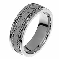 Item # 21419W - Hand Crafted 14 kt white gold Wedding Band