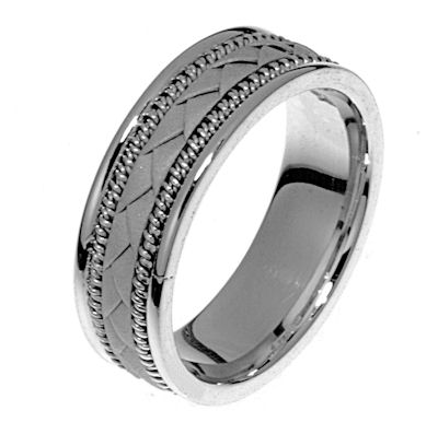 Item # 21419WE - Hand crafted, 18 kt white gold comfort fit band. The twisted pieces and braided center is 18 kt white gold. The braid and twisted ropes in the center of the ring is a sandblast matte finished and the edges are high polished. Different finishes may be selected or specified.
