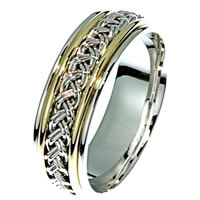 Item # 21471E - Hand Crafted 18 kt Two-Tone Wedding Band