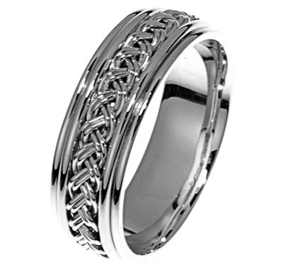 Item # 21471WE - Hand crafted, 18 kt white gold ring. This band is 6.5 mm wide and comfort fit. The whole ring is white gold and has a high polish finish. Different finishes may be selected or specified.