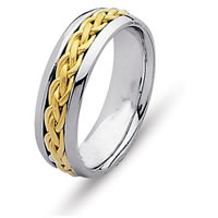 Item # 21473E - 18K white and Yellow Gold Wedding Ring