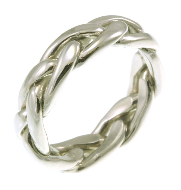 Item # 21476PP - All platinum hand made open braided, approximately 6.0 mm wide, Celtic wedding Band. The ring is polished. Different finishes may be selected or specified. This item can not be engraved.