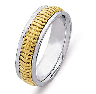 Item # 214776E - Hand crafted, 18 kt two-tone gold comfort fit band. A beautifully crafted design made from 18 kt yellow gold inlayed in 18 kt white gold. The ring is 6.0 mm wide. The center is a matte finish and the outer edges are polished. Different finishes may be selected or specified.