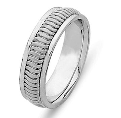 Item # 214776PP - Hand crafted, platinum comfort fit band. A beautifully crafted design made from platinum inlayed in platinum. The ring is 6.0 mm wide. The center is a matte finish and the outer edges are polished. Different finishes may be selected or specified.