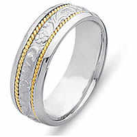 Item # 21491E - 18 Kt Two-Tone Carved Wedding Band