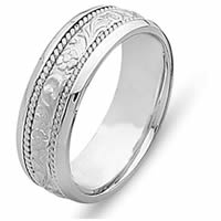 Item # 21491WE - 18 Kt White Gold Carved Wedding Band