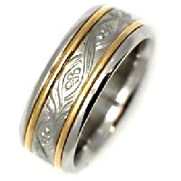 Item # 21492E - 18K Two-Tone Wedding Band