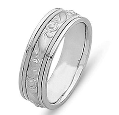 Item # 21493WE - 18 Kt White Gold Hand Crafted Wedding Band View-1