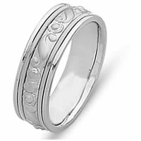 Item # 21493WE - 18 Kt White Gold Hand Crafted Wedding Band