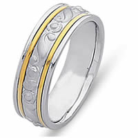 Item # 21493 - 14 Kt Two-Tone Hand Crafted Wedding Band