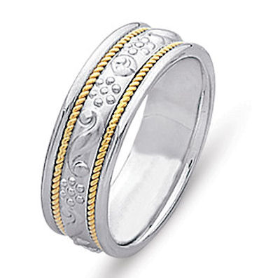 Item # 21494E - 18 Kt Two-Tone Wedding Band View-1