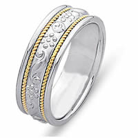 Item # 21494PE - Platinum & 18 kt Hand Crafted Wedding Band