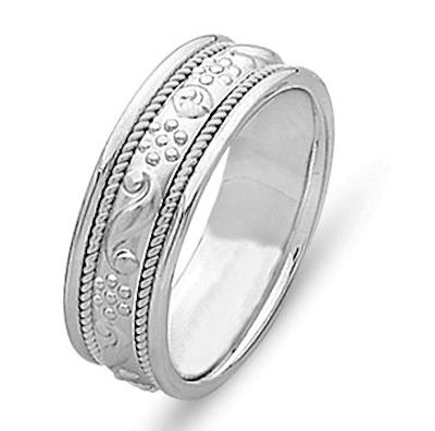 Item # 21494W - 14 Kt White Gold Hand Crafted Wedding Band View-1