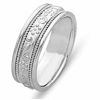 Item # 21494W - 14 Kt White Gold Hand Crafted Wedding Band