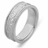 Item # 21497PP - Platinum Hand Crafted Wedding Band
