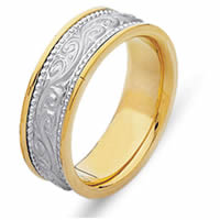 Item # 21497E - 18 Kt Two-Tone Hand Crafted Wedding Band