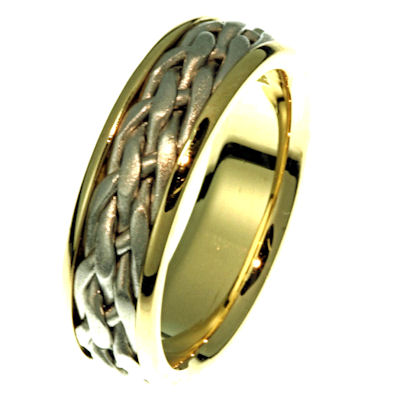 Item # 21498E - Hand crafted, 18 kt two-tone gold comfort fit band. The ring has a white gold braid with yellow gold band surrounding the braids. The center is matte finish and the sides are polished. Different finishes may be selected or specified.