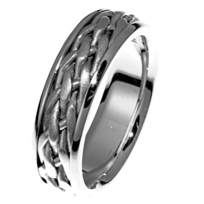 Item # 21498WE - Hand crafted, 18 kt white gold comfort fit band. There is a hand made braid in the center. The center is matte finish and the sides are polished. Different finishes may be selected or specified.