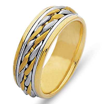 Item # 21499PE - Hand crafted, platinum and 18 kt yellow gold, 9.0 mm wide, comfort fit wedding band. The ring is beautifully braided in the center with platinum and 18kt yellow gold. The finish is polished. Different finishes may be selected or specified.