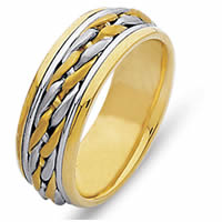 Hand Braided 14 Kt Two-Tone Wedding Band