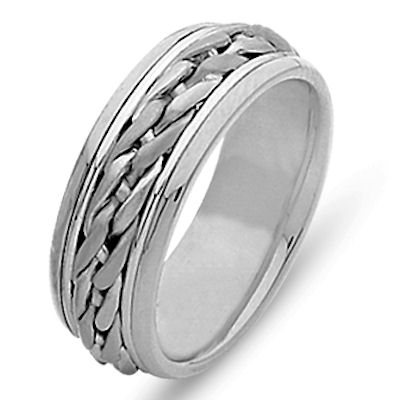 Item # 21499WE - Hand crafted, 18 kt white gold, 9.0 mm wide, comfort fit wedding band. The ring is beautifully braided in the center with 18kt white gold. The finish is polished. Different finishes may be selected or specified.