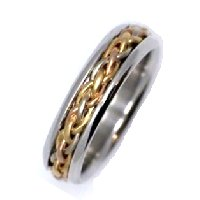 Item # 21520PE - Wedding Band, Platinum & 18 kt WGP Gold