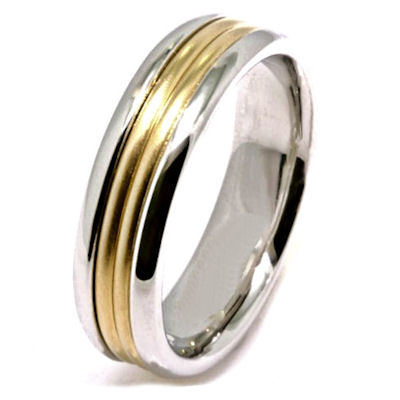 Item # 21524 - 14 Kt two-tone gold, hand crafted wedding band. The ring is 6.5 mm wide and comfort fit. The center of the ring is a matte finish and the outer edges are polished. Different finishes may be selected or specified.