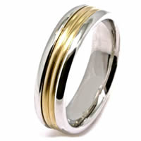 Item # 21524PE - Wedding Band 18 kt yellow and Platinum