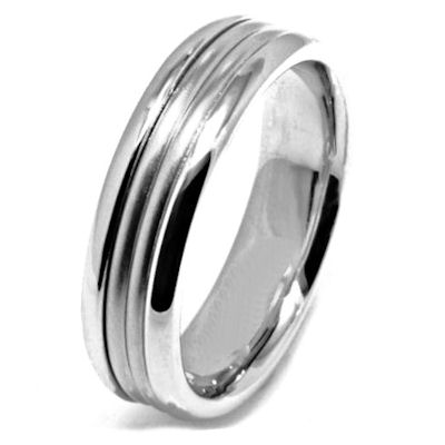 Item # 21524W - 14 Kt white gold, hand crafted wedding band. The ring is 6.5 mm wide and comfort fit. The center of the ring is a matte finish and the outer edges are polished. Different finishes may be selected or specified.