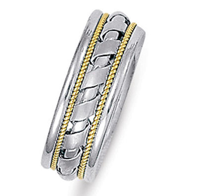 Item # 21526E - Hand crafted, 18 kt two-tone gold comfort fit band. The ropes are 18 kt yellow gold and the rest is white gold. The ring is 7.0 mm wide and comfort fit. The center is matte and the rest is polished. Different finishes may be selected or specified.
