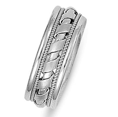 Item # 21526WE - Hand crafted, 18 kt white gold comfort fit band. The whole band is beautifully crafted in white gold with ropes and intricate braids. The ring is 7.0 mm wide and comfort fit. The center is matte and the rest is polished. Different finishes may be selected or specified.