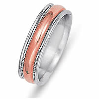 Item # 21528RE - Wedding Ring, 18 Kt Rose and White Gold